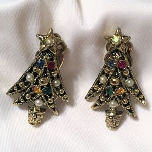 vintage clip on beaded Christmas Tree earrings ✨✨